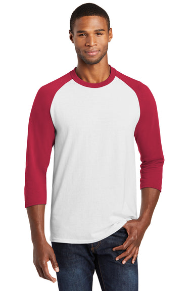 Port & Company PC55RS Mens Core Moisture Wicking 3/4 Sleeve Crewneck T-Shirt White/Red Front