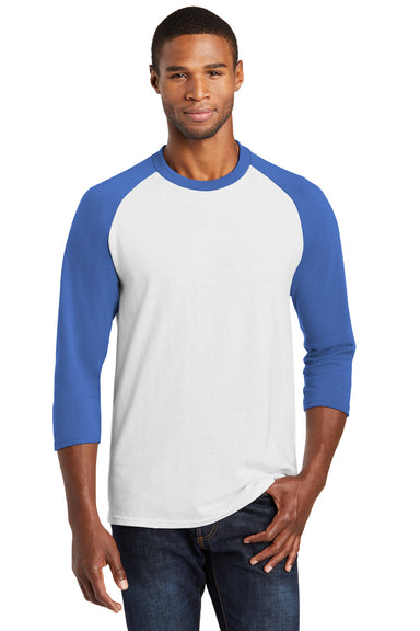 Port & Company PC55RS Mens Core Moisture Wicking 3/4 Sleeve Crewneck T-Shirt White/Royal Blue Front