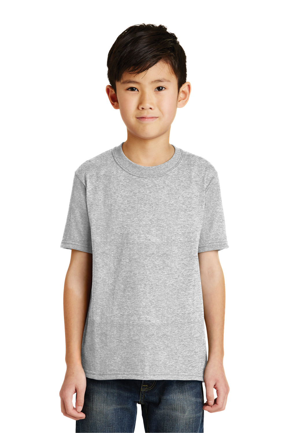 Port & Company PC55Y Youth Core Short Sleeve Crewneck T-Shirt Ash Grey Front
