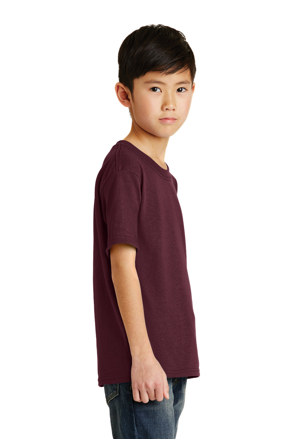 Port & Company PC55Y Youth Core Short Sleeve Crewneck T-Shirt Maroon Side