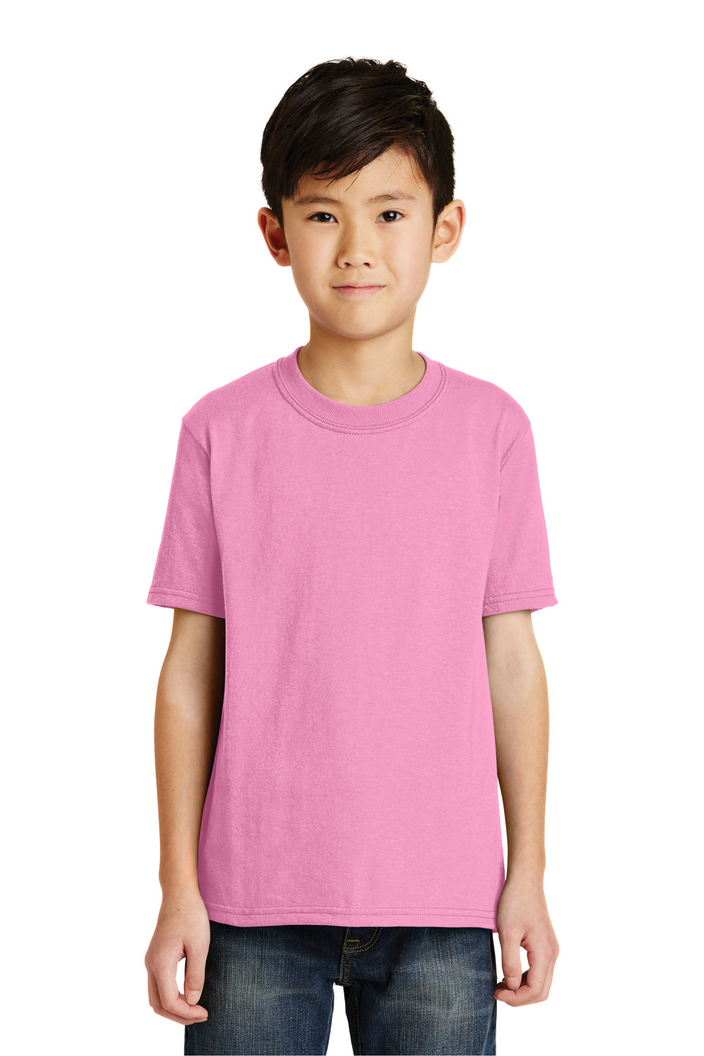 Port & Company PC55Y Youth Core Short Sleeve Crewneck T-Shirt Candy Pink Front