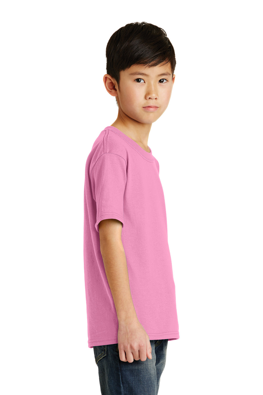 Port & Company PC55Y Youth Core Short Sleeve Crewneck T-Shirt Candy Pink Side