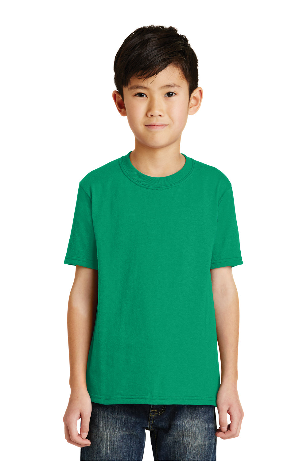 Port & Company PC55Y Youth Core Short Sleeve Crewneck T-Shirt Kelly Green Front