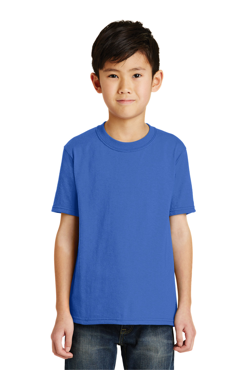 Port & Company PC55Y Youth Core Short Sleeve Crewneck T-Shirt Royal Blue Front
