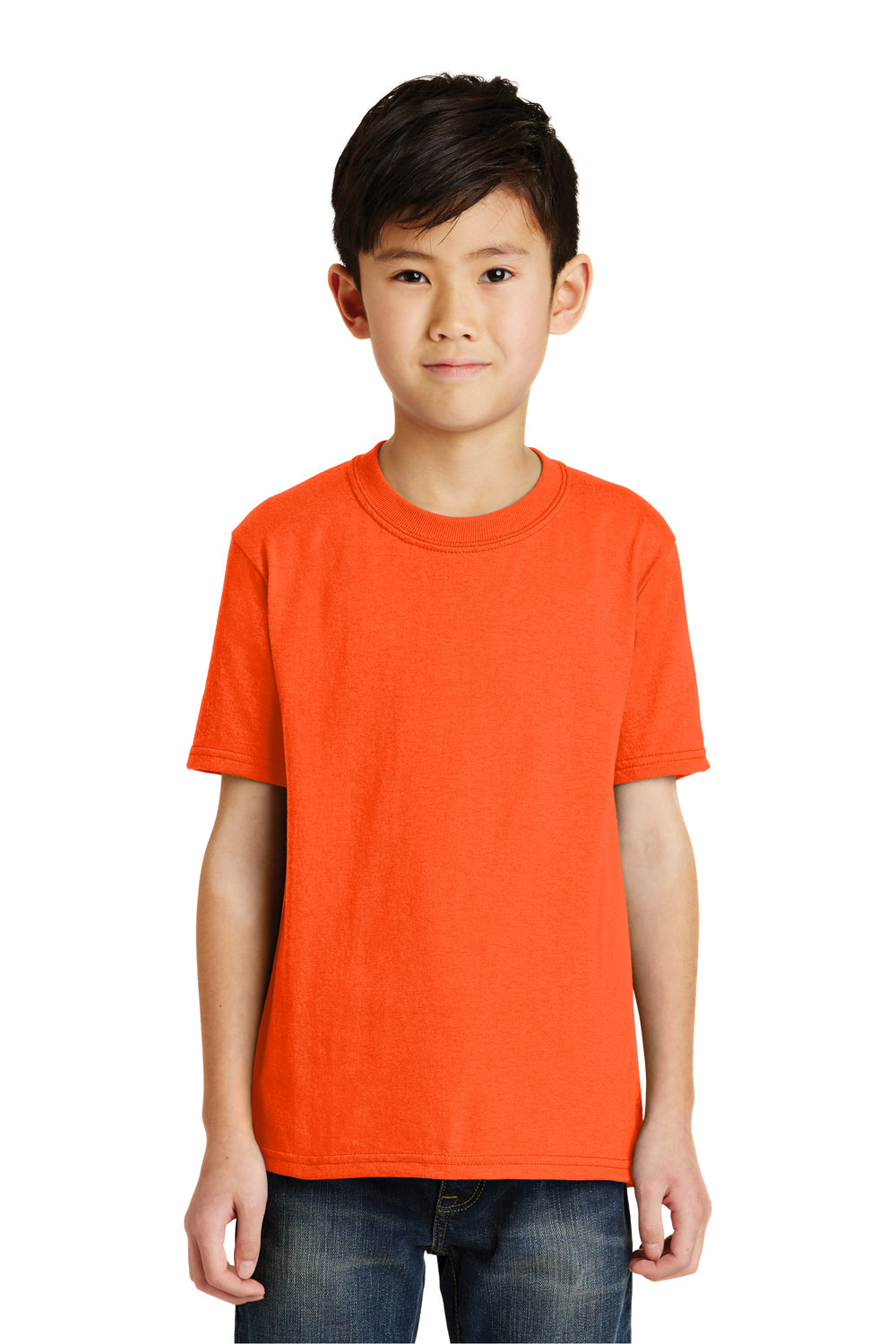 Port & Company PC55Y Youth Core Short Sleeve Crewneck T-Shirt Safety Orange Front