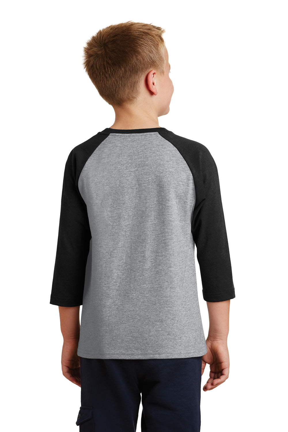Port & Company PC55YRS Youth Core Moisture Wicking 3/4 Sleeve Crewneck T-Shirt Heather Grey/Black Back