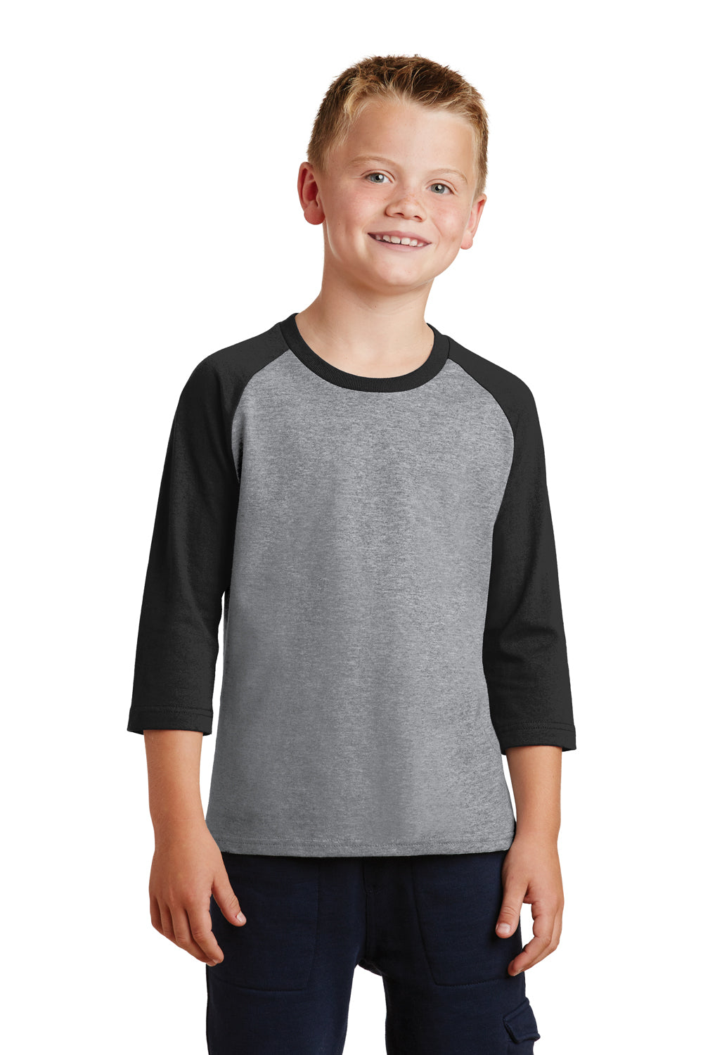 Port & Company PC55YRS Youth Core Moisture Wicking 3/4 Sleeve Crewneck T-Shirt Heather Grey/Black Front