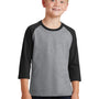 Port & Company Youth Core Moisture Wicking 3/4 Sleeve Crewneck T-Shirt - Heather Grey/Jet Black