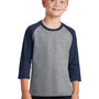 Port & Company Youth Core Moisture Wicking 3/4 Sleeve Crewneck T-Shirt - Heather Grey/Navy Blue
