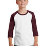 Port & Company Youth Core Moisture Wicking 3/4 Sleeve Crewneck T-Shirt - White/Athletic Maroon