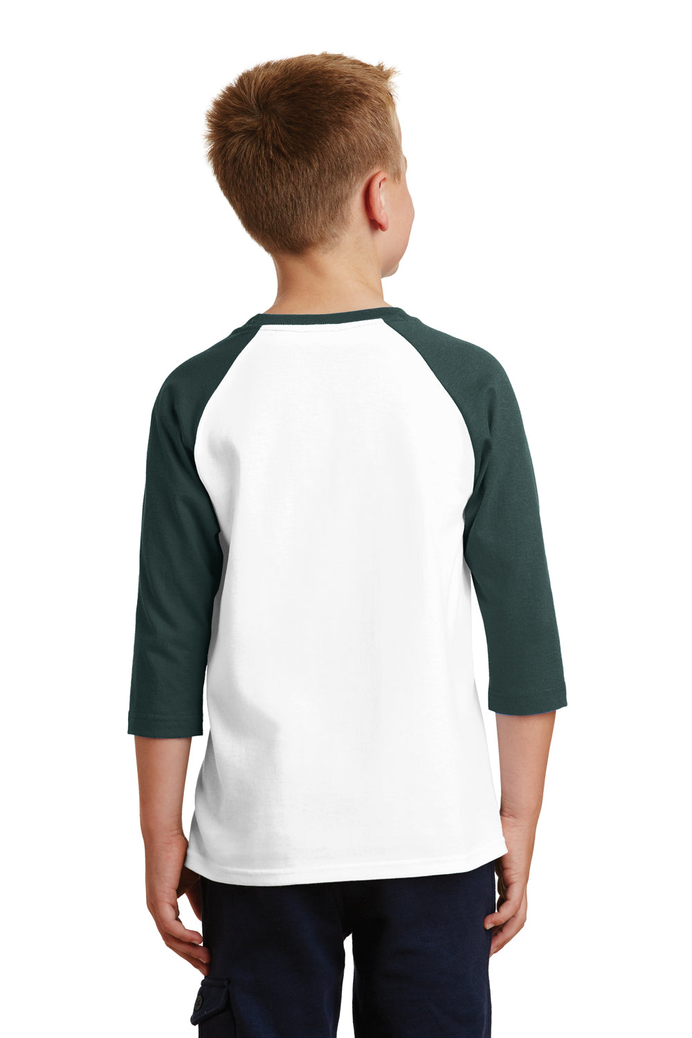 Port & Company PC55YRS Youth Core Moisture Wicking 3/4 Sleeve Crewneck T-Shirt White/Dark Green Back