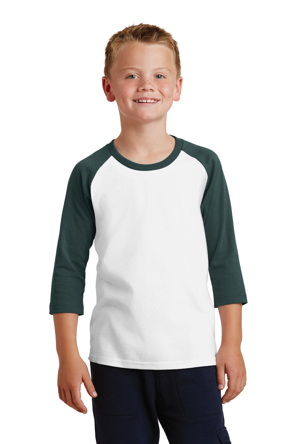 Port & Company PC55YRS Youth Core Moisture Wicking 3/4 Sleeve Crewneck T-Shirt White/Dark Green Front