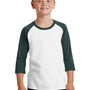 Port & Company Youth Core Moisture Wicking 3/4 Sleeve Crewneck T-Shirt - White/Dark Green