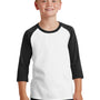 Port & Company Youth Core Moisture Wicking 3/4 Sleeve Crewneck T-Shirt - White/Jet Black