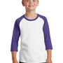 Port & Company Youth Core Moisture Wicking 3/4 Sleeve Crewneck T-Shirt - White/Purple