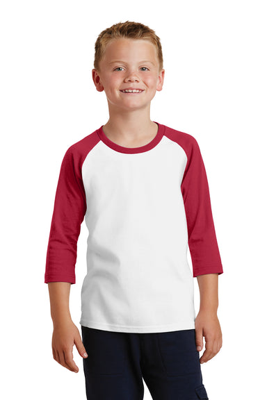 Port & Company PC55YRS Youth Core Moisture Wicking 3/4 Sleeve Crewneck T-Shirt White/Red Front