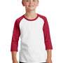 Port & Company Youth Core Moisture Wicking 3/4 Sleeve Crewneck T-Shirt - White/Red