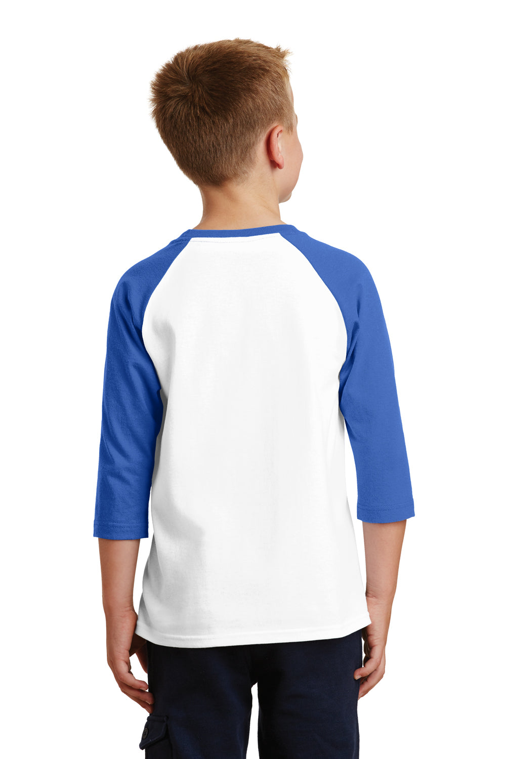 Port & Company PC55YRS Youth Core Moisture Wicking 3/4 Sleeve Crewneck T-Shirt White/Royal Blue Back