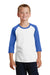 Port & Company PC55YRS Youth Core Moisture Wicking 3/4 Sleeve Crewneck T-Shirt White/Royal Blue Front