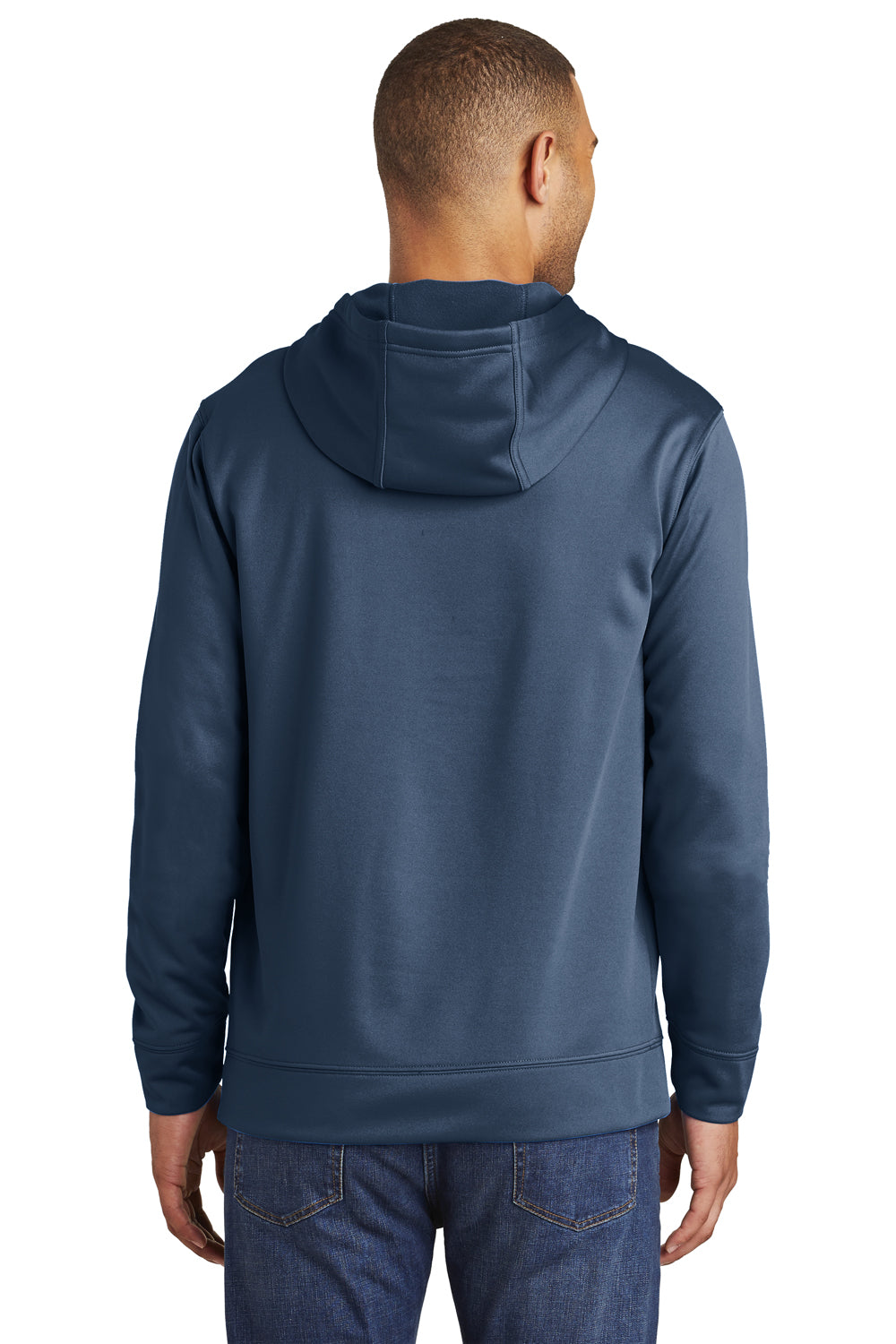 Port & Company PC590H Mens Dry Zone Performance Moisture Wicking Fleece Hooded Sweatshirt Hoodie Navy Blue Back