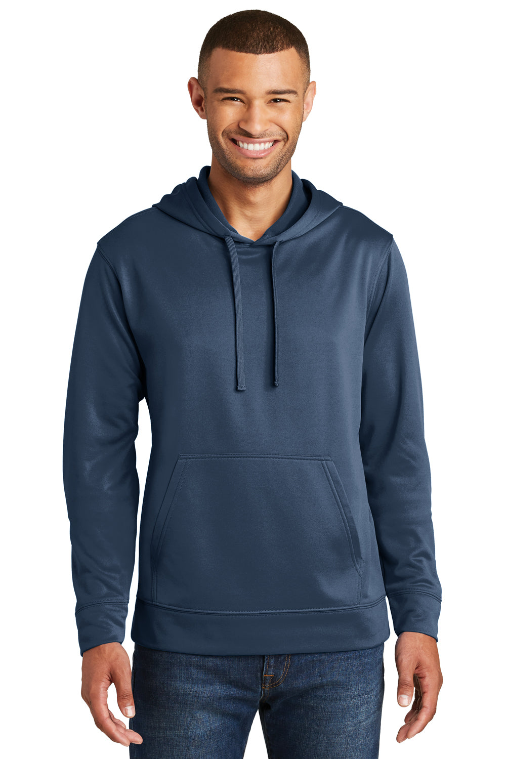 Port & Company PC590H Mens Dry Zone Performance Moisture Wicking Fleece Hooded Sweatshirt Hoodie Navy Blue Front