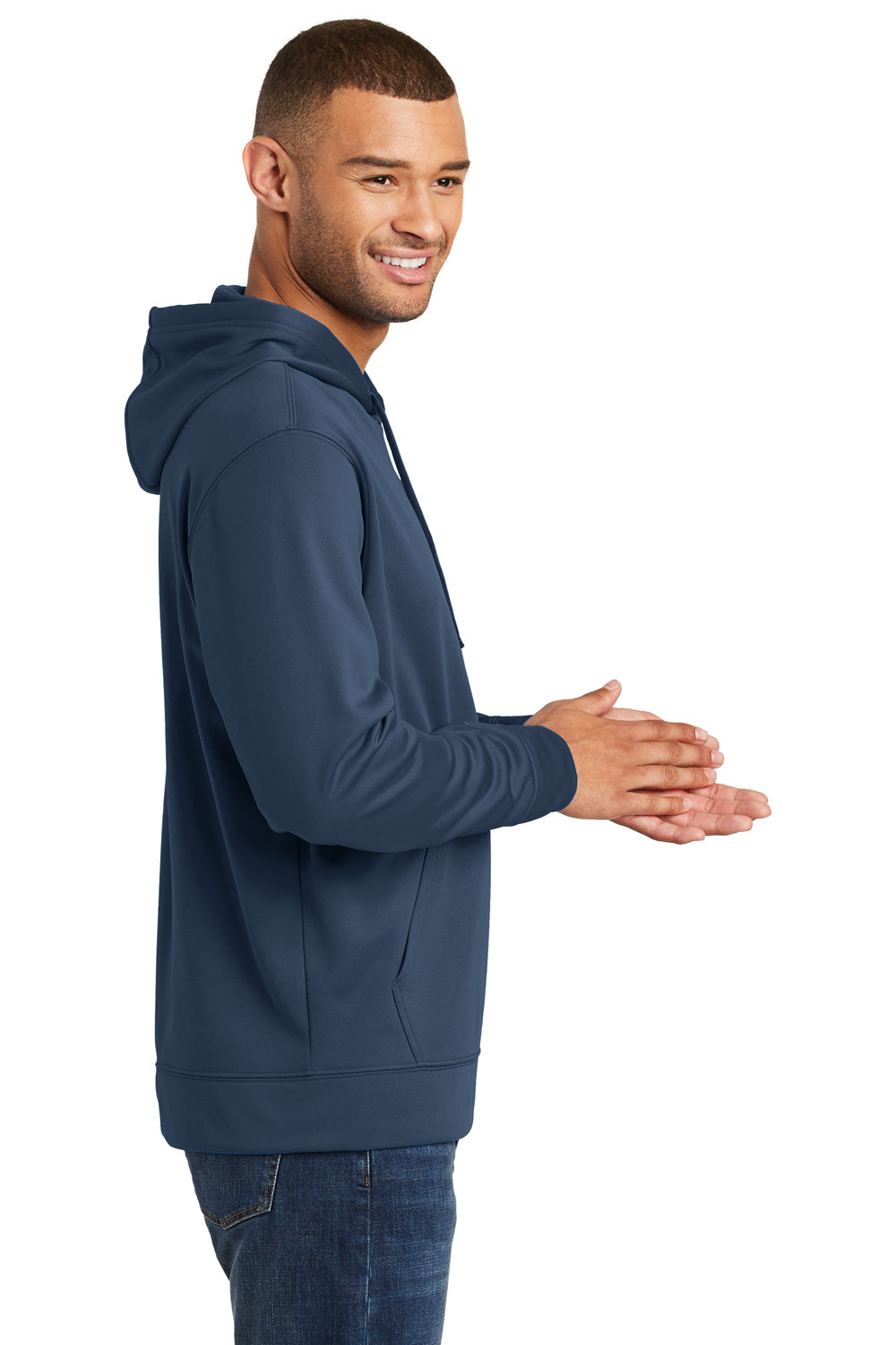 Port & Company PC590H Mens Dry Zone Performance Moisture Wicking Fleece Hooded Sweatshirt Hoodie Navy Blue Side