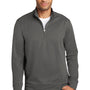Port & Company Mens Dry Zone Performance Moisture Wicking Fleece 1/4 Zip Sweatshirt - Charcoal Grey