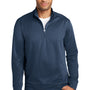 Port & Company Mens Dry Zone Performance Moisture Wicking Fleece 1/4 Zip Sweatshirt - Deep Navy Blue