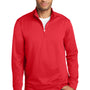 Port & Company Mens Dry Zone Performance Moisture Wicking Fleece 1/4 Zip Sweatshirt - Red
