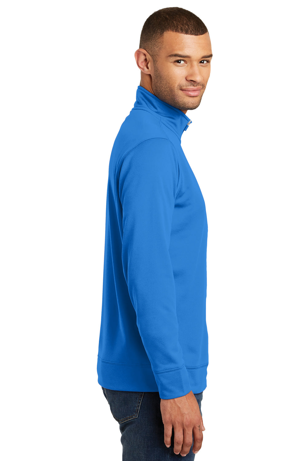 Port & Company PC590Q Mens Dry Zone Performance Moisture Wicking Fleece 1/4 Zip Sweatshirt Royal Blue Side