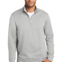 Port & Company Mens Dry Zone Performance Moisture Wicking Fleece 1/4 Zip Sweatshirt - Silver Grey