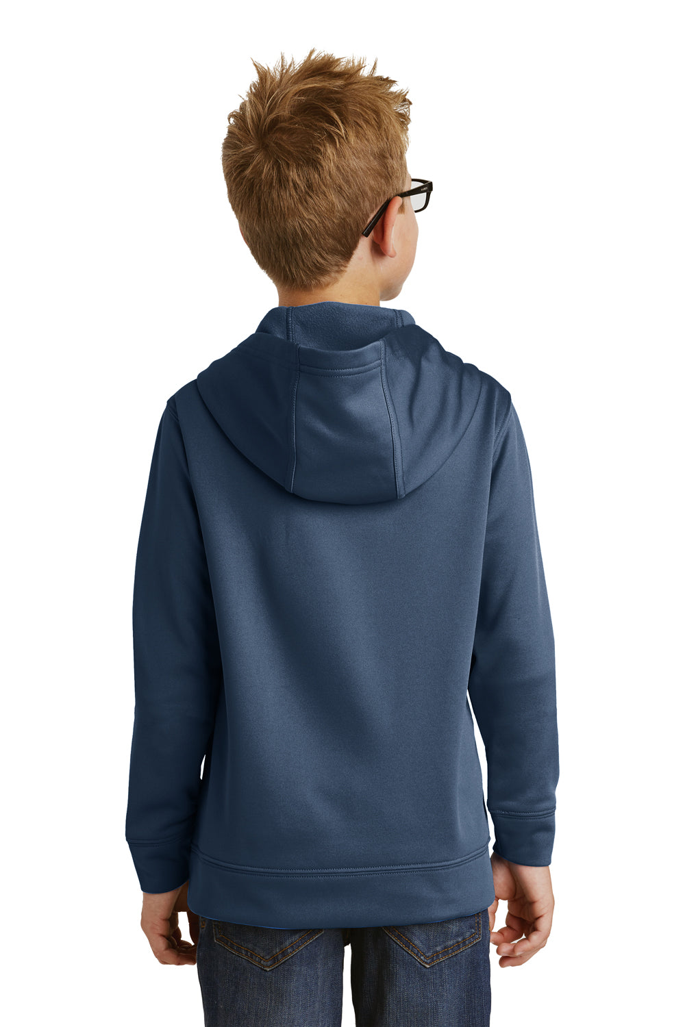 Port & Company PC590YH Youth Dry Zone Performance Moisture Wicking Fleece Hooded Sweatshirt Hoodie Navy Blue Back
