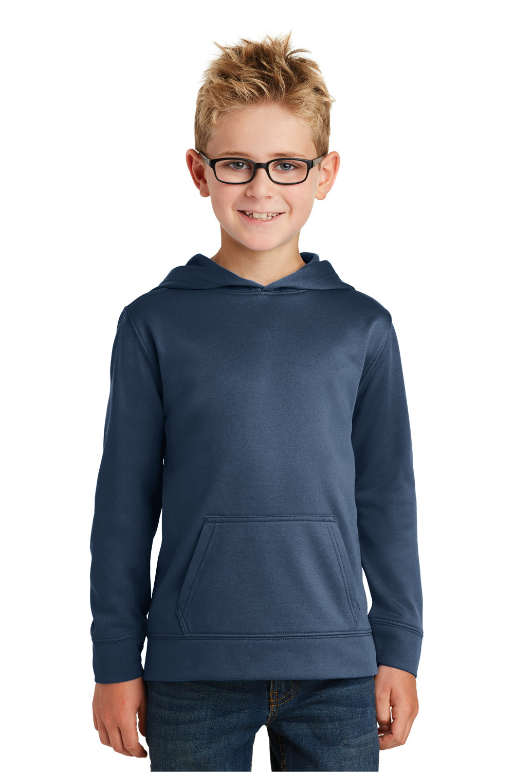 Port & Company PC590YH Youth Dry Zone Performance Moisture Wicking Fleece Hooded Sweatshirt Hoodie Navy Blue Front