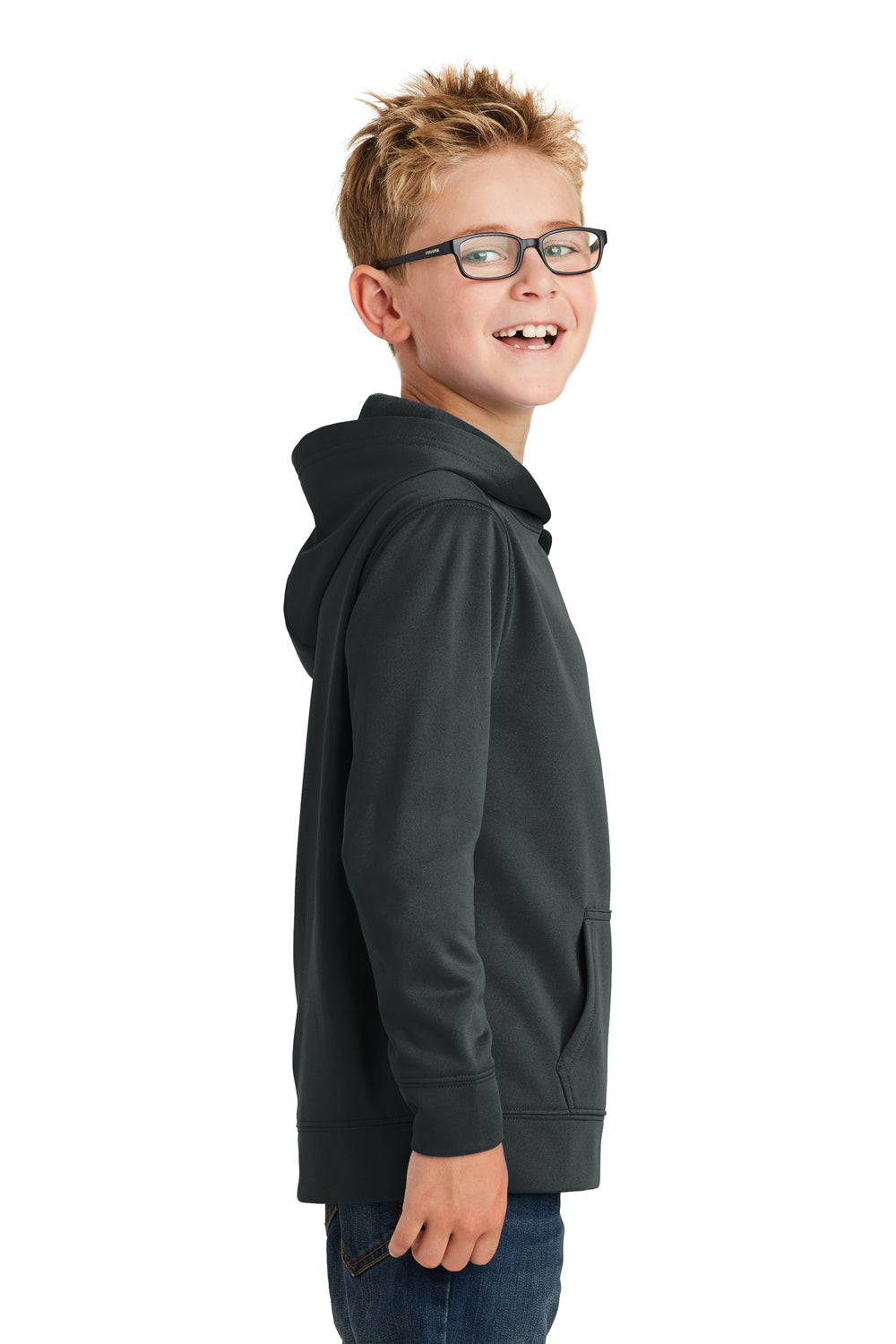 Port & Company PC590YH Youth Dry Zone Performance Moisture Wicking Fleece Hooded Sweatshirt Hoodie Black Side