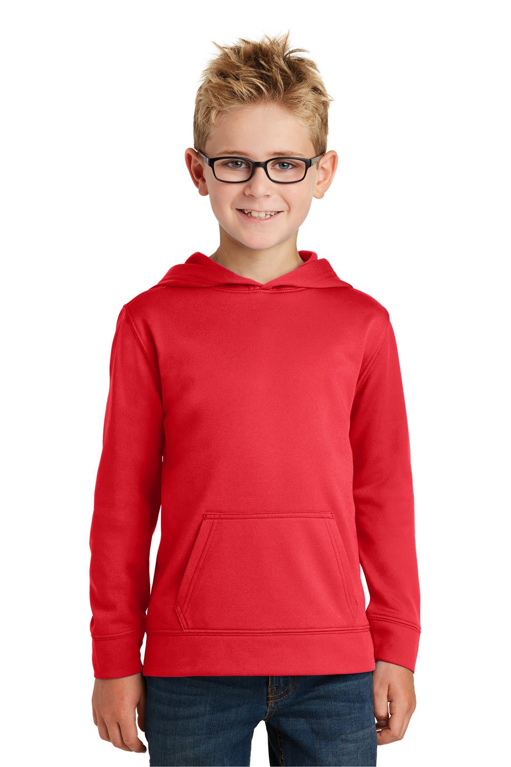 Port & Company PC590YH Youth Dry Zone Performance Moisture Wicking Fleece Hooded Sweatshirt Hoodie Red Front