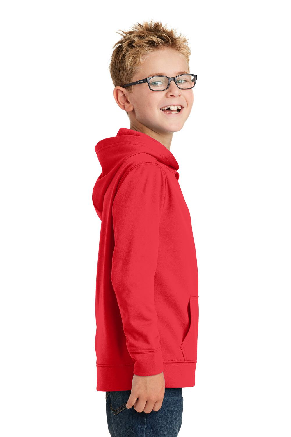 Port & Company PC590YH Youth Dry Zone Performance Moisture Wicking Fleece Hooded Sweatshirt Hoodie Red Side