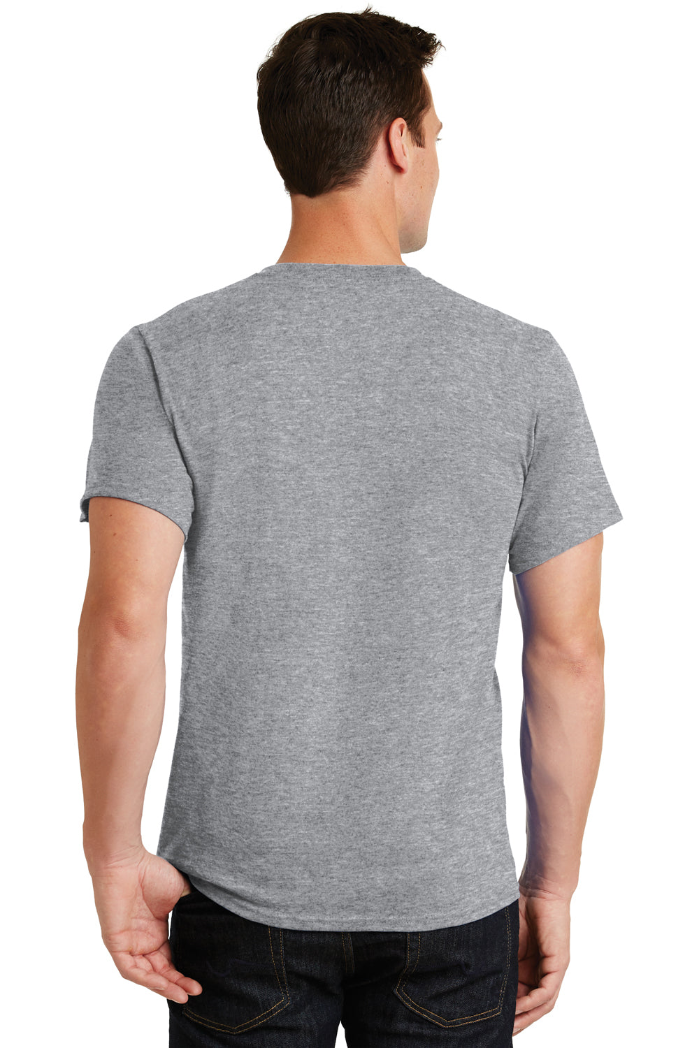 Port & Company PC61 Mens Essential Short Sleeve Crewneck T-Shirt Heather Grey Back
