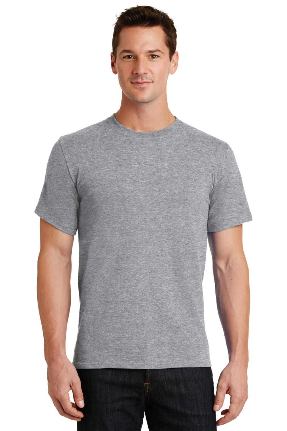 Port & Company PC61 Mens Essential Short Sleeve Crewneck T-Shirt Heather Grey Front