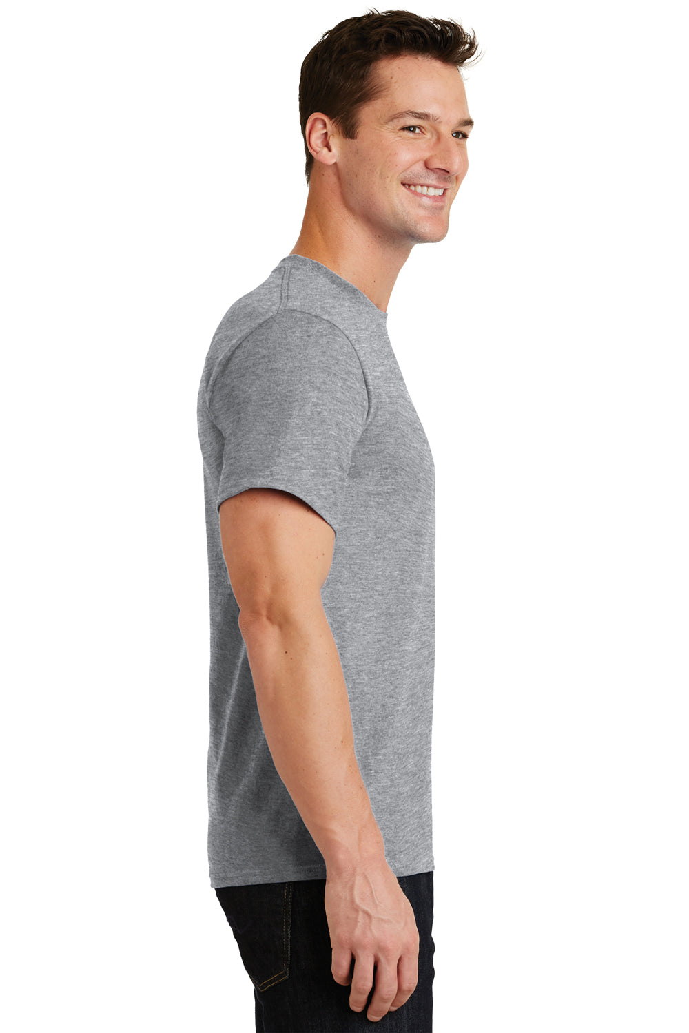 Port & Company PC61 Mens Essential Short Sleeve Crewneck T-Shirt Heather Grey Side