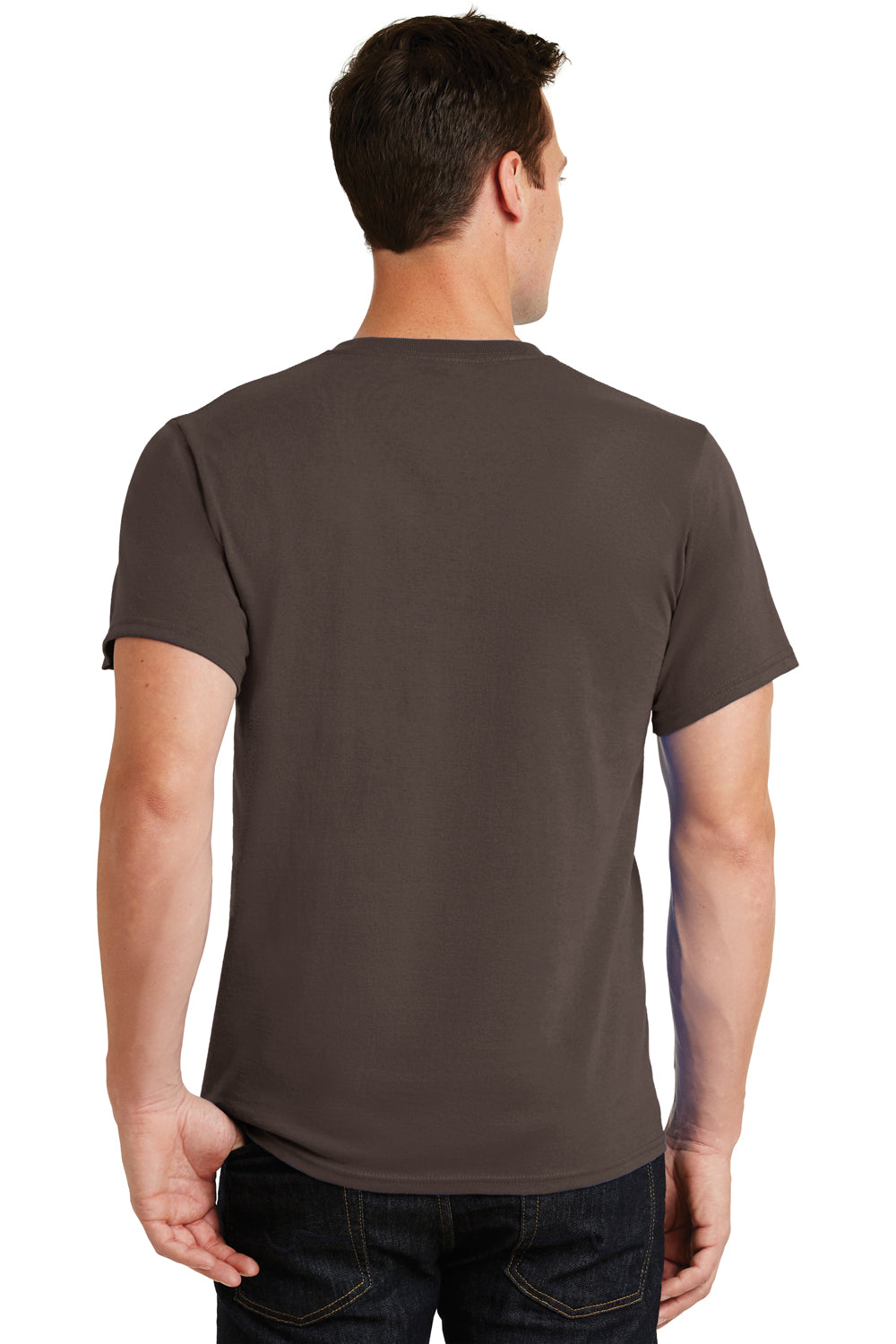Port & Company PC61 Mens Essential Short Sleeve Crewneck T-Shirt Brown Back