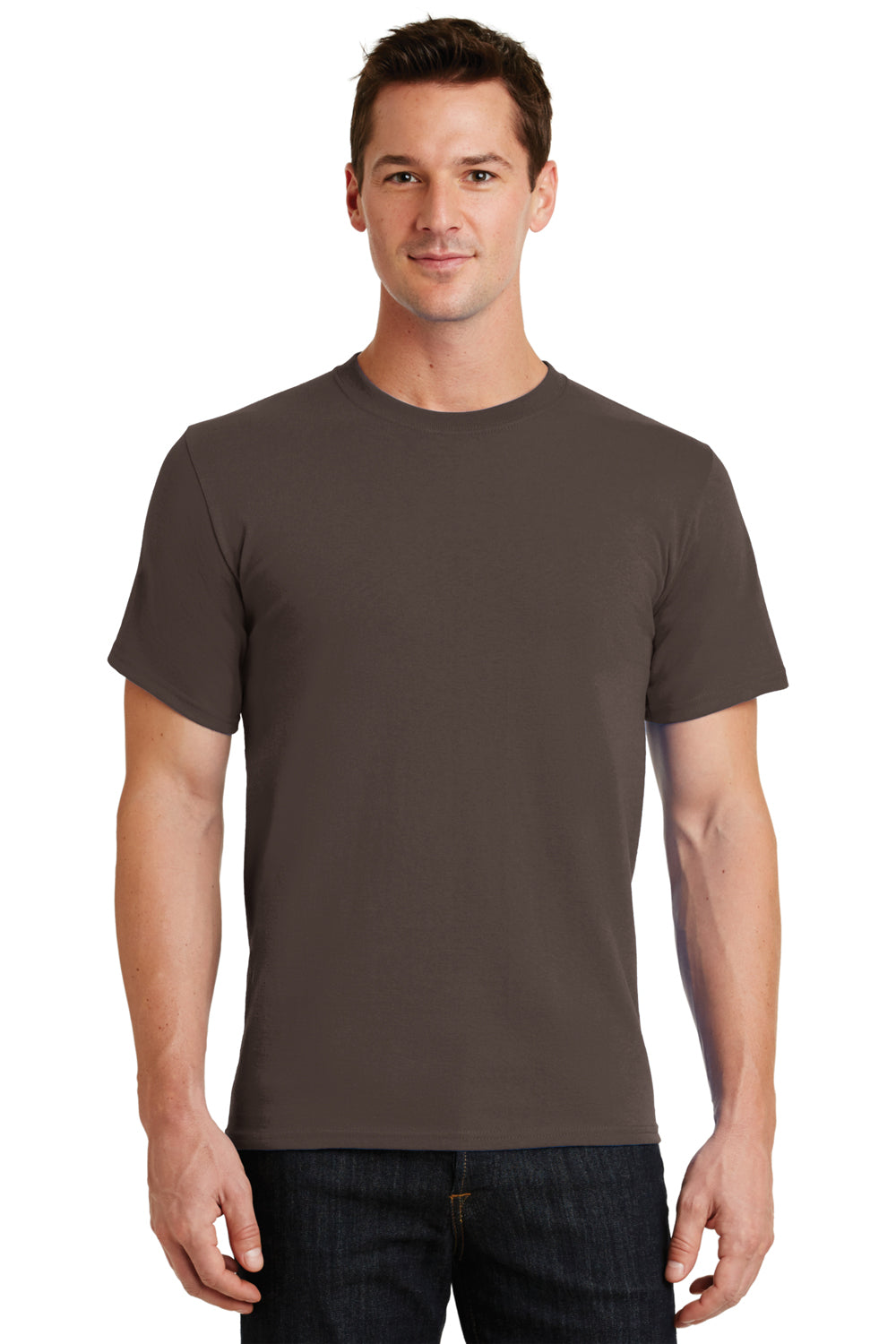 Port & Company PC61 Mens Essential Short Sleeve Crewneck T-Shirt Brown Front