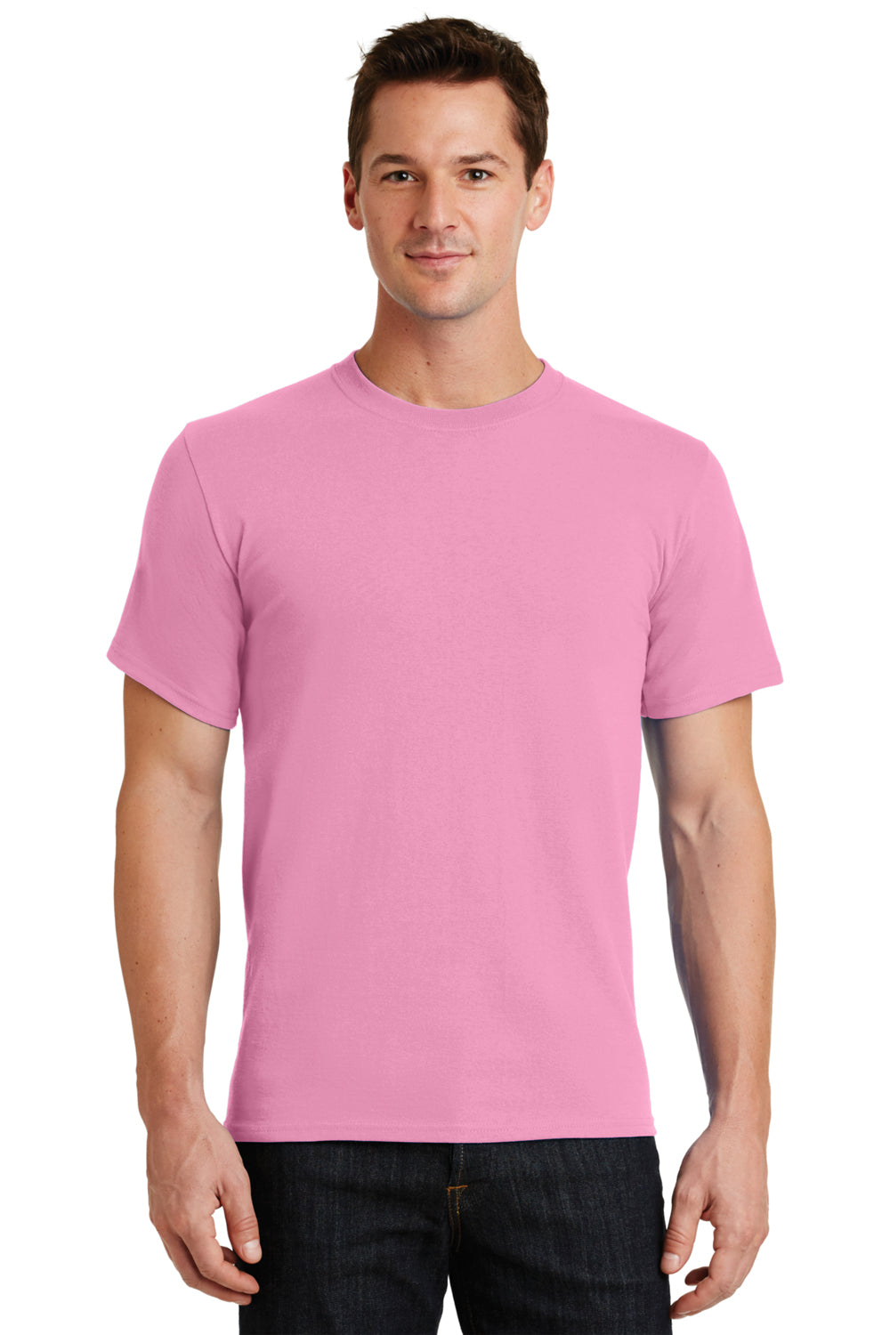 Port & Company PC61 Mens Essential Short Sleeve Crewneck T-Shirt Candy Pink Front