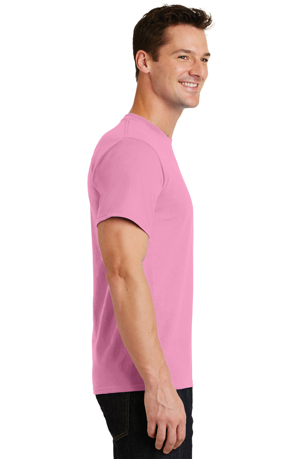 Port & Company PC61 Mens Essential Short Sleeve Crewneck T-Shirt Candy Pink Side