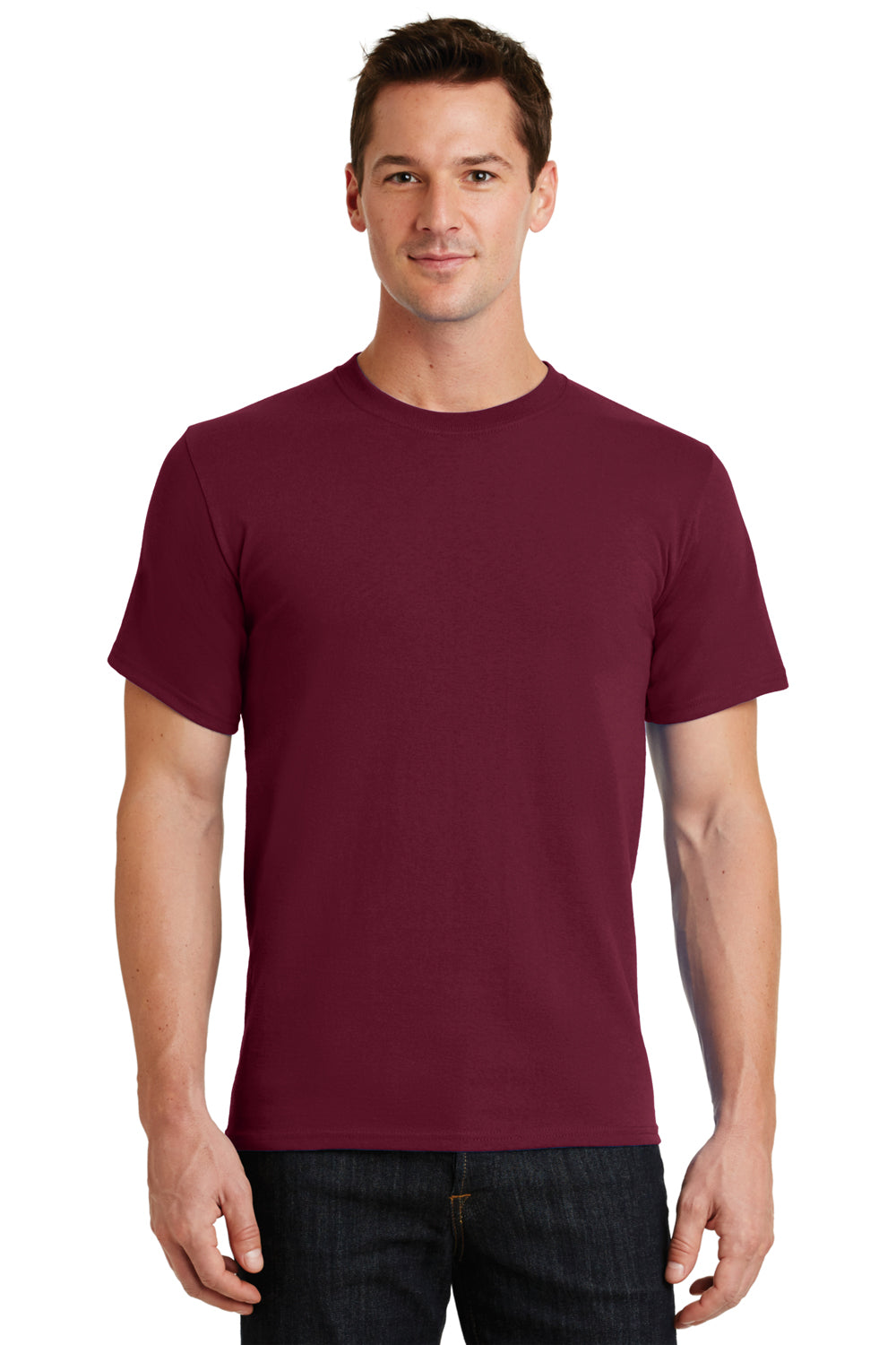 Port & Company PC61 Mens Essential Short Sleeve Crewneck T-Shirt Cardinal Red Front