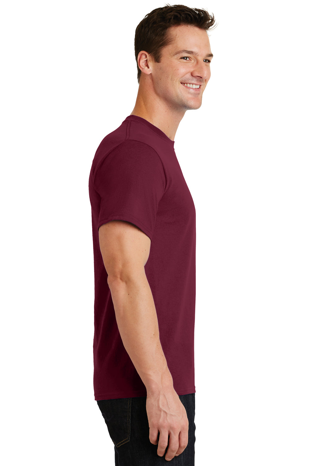 Port & Company PC61 Mens Essential Short Sleeve Crewneck T-Shirt Cardinal Red Side