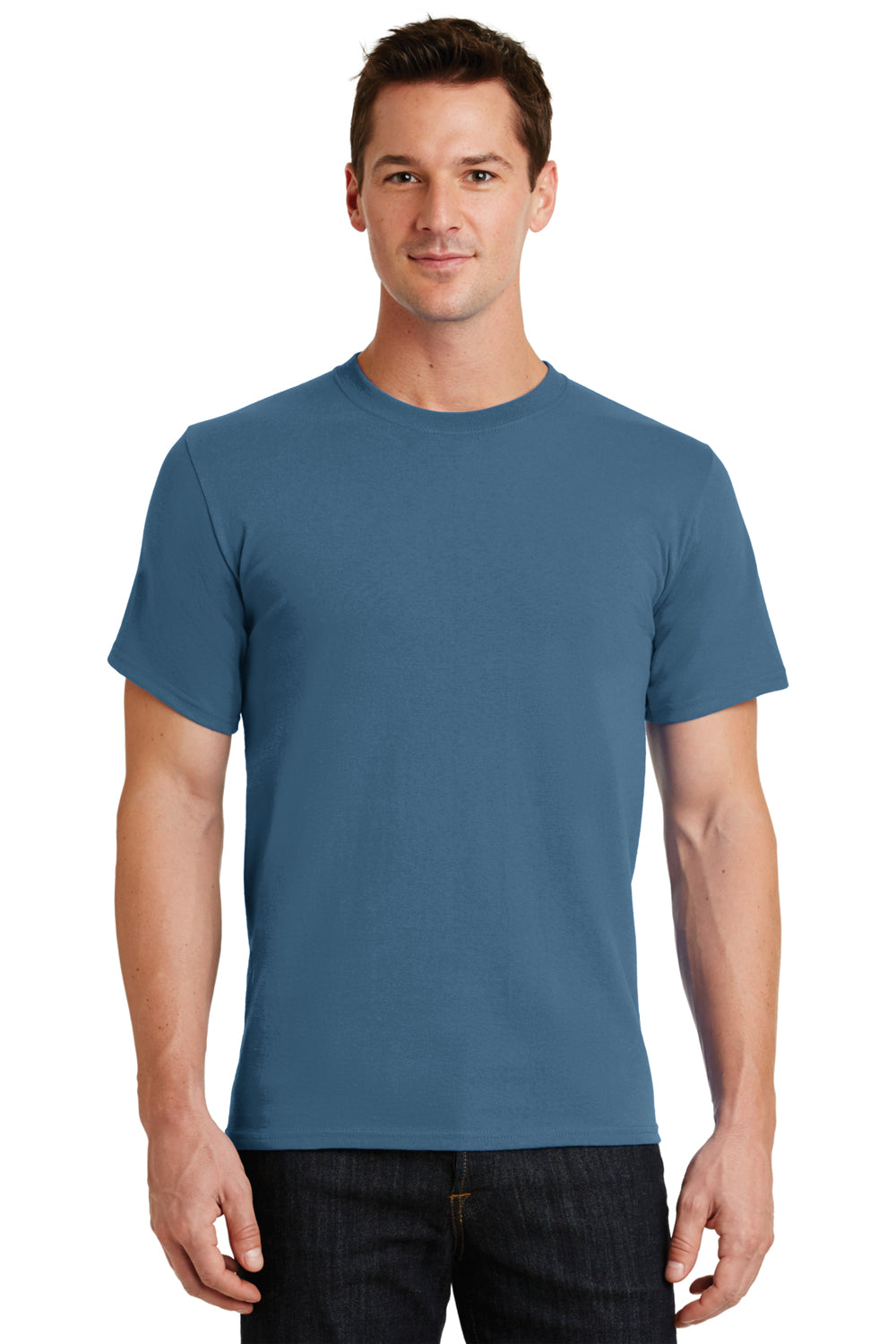 Port & Company PC61 Mens Essential Short Sleeve Crewneck T-Shirt Colonial Blue Front