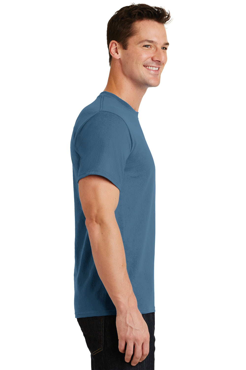 Port & Company PC61 Mens Essential Short Sleeve Crewneck T-Shirt Colonial Blue Side