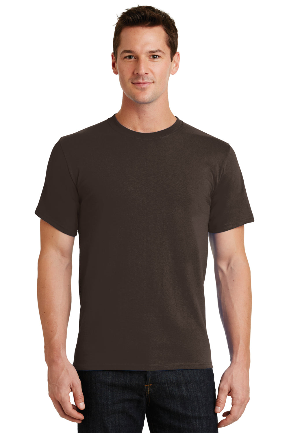 Port & Company PC61 Mens Essential Short Sleeve Crewneck T-Shirt Chocolate Brown Front