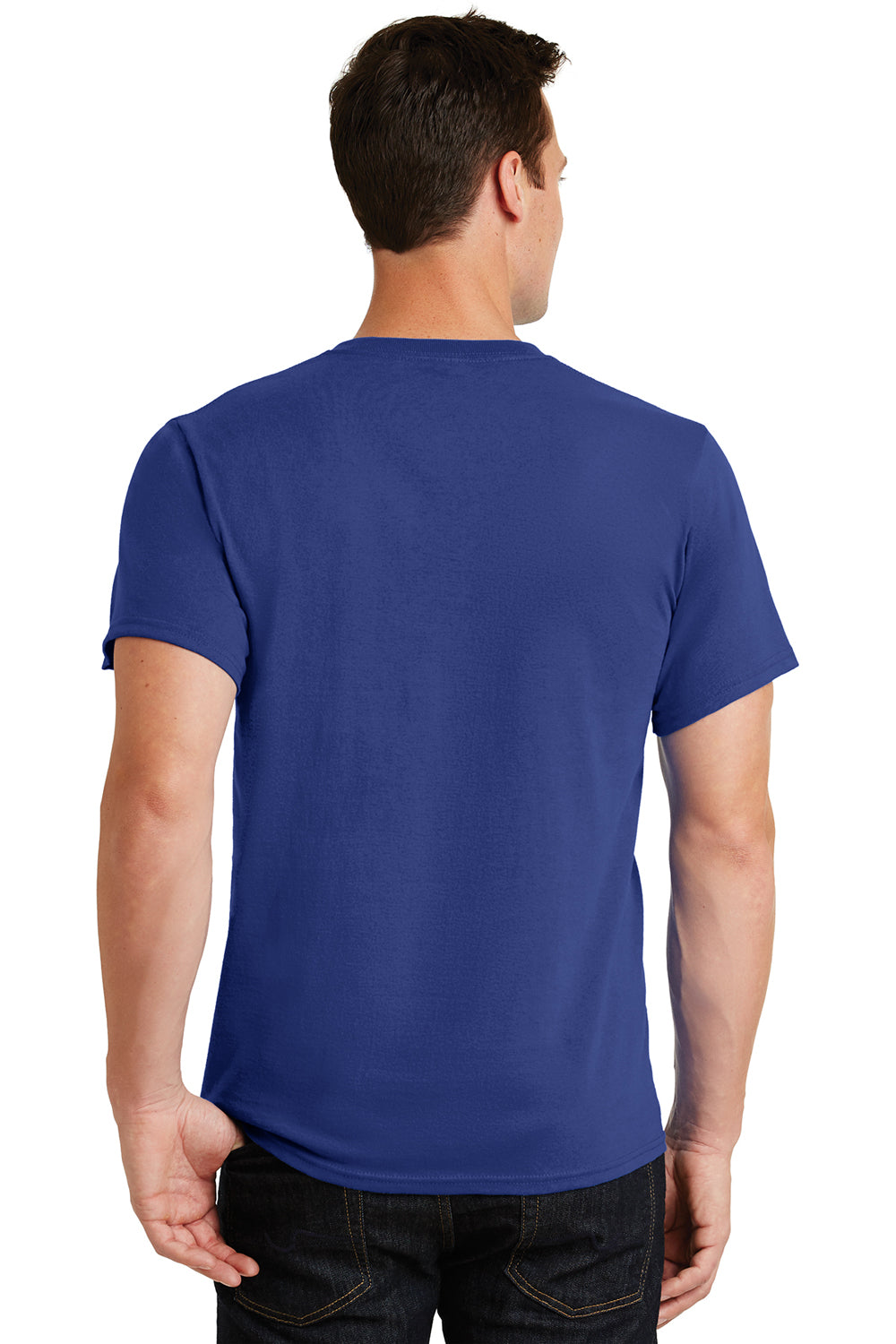 Port & Company PC61 Mens Essential Short Sleeve Crewneck T-Shirt Deep Marine Blue Back