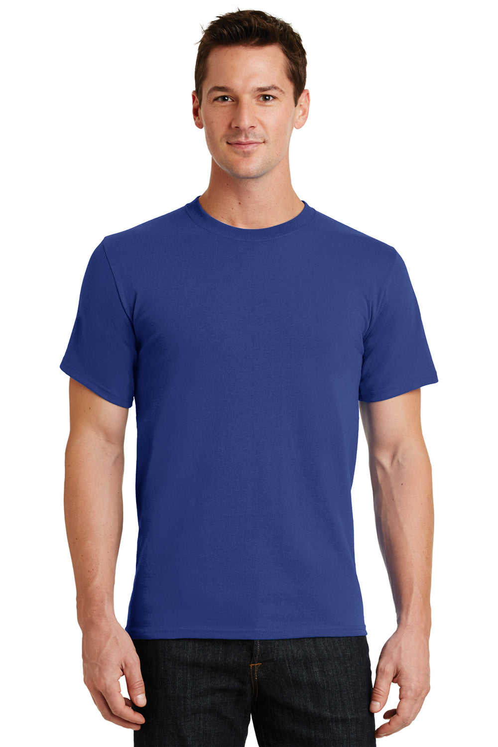 Port & Company PC61 Mens Essential Short Sleeve Crewneck T-Shirt Deep Marine Blue Front